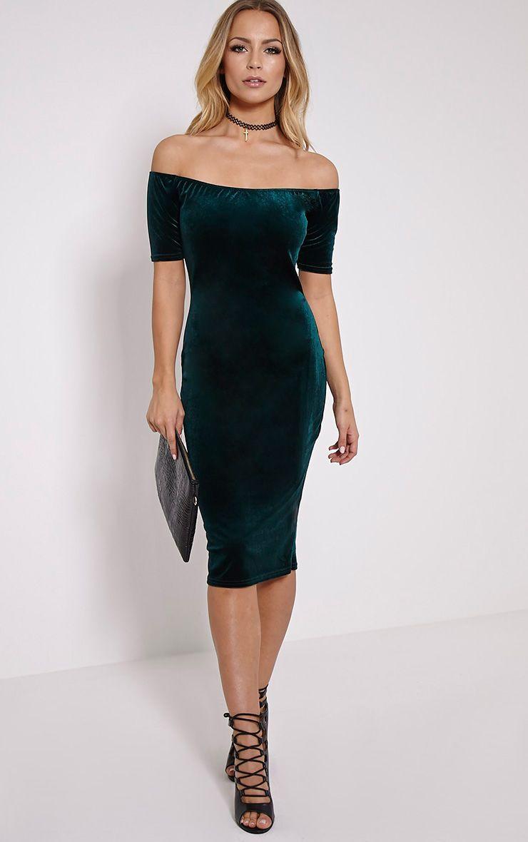 Leonie Green Velvet Bardot Midi Dress 1