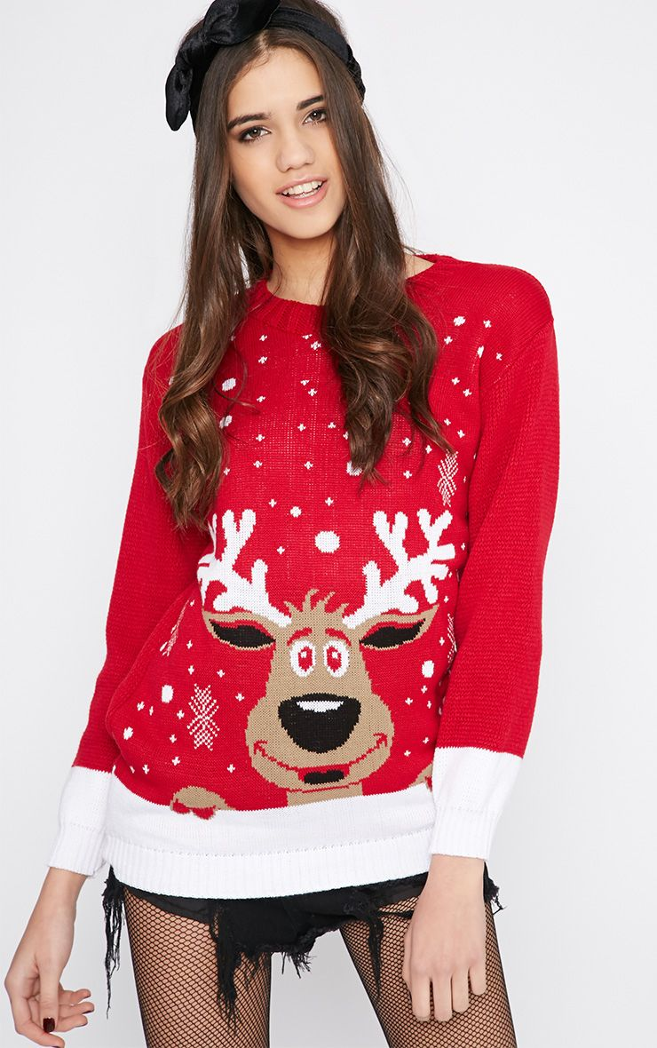 Shelby Red Rudolph Snow Christmas Jumper  1