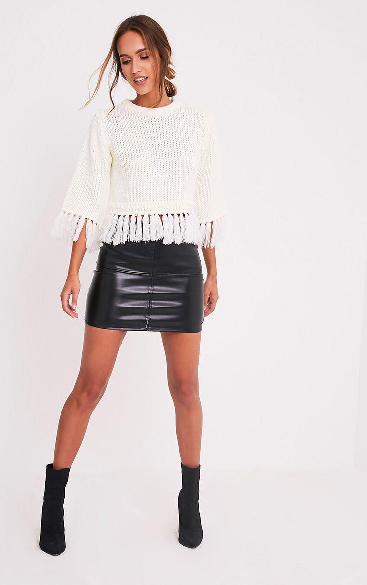 Shelia pull tricoté court à franges crème 5