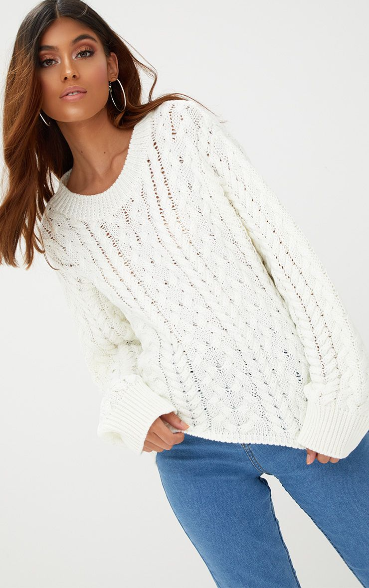 Cream Chunky Cable Knit Jumper