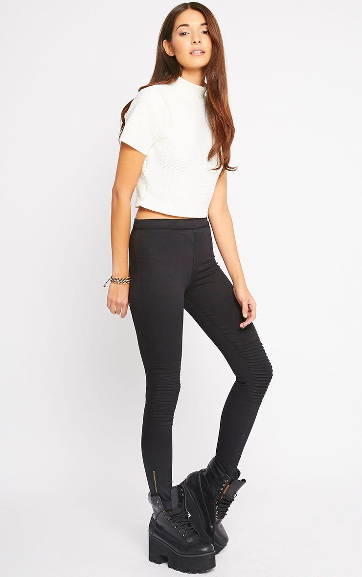 Emory Black Zip Up Biker Jeans 1