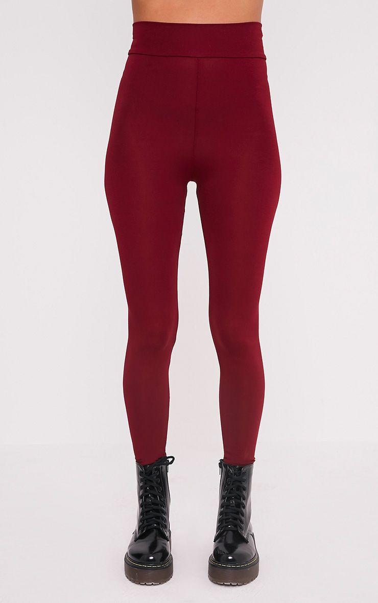 Basic leggings bordeaux taille haute en jersey 2