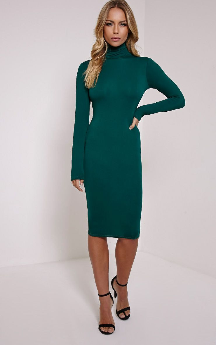 Basic Bottle Green Roll Neck Midi Dress
