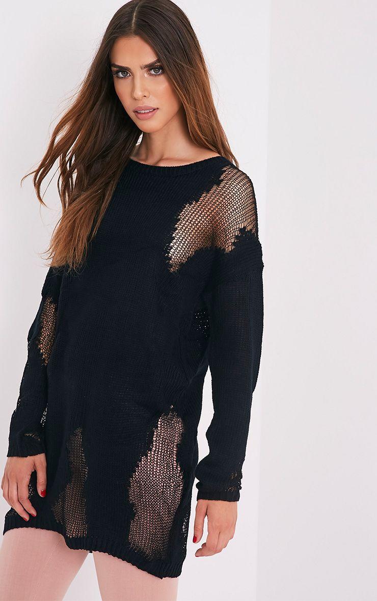 Romonae Black Frayed Rip Knitted Jumper 1