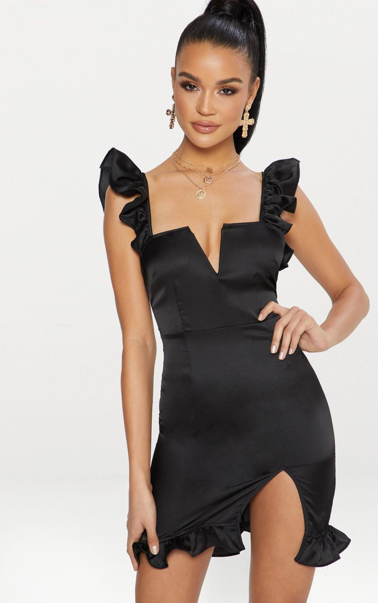 Black Satin V Bar Frill Detail Bodycon Dress