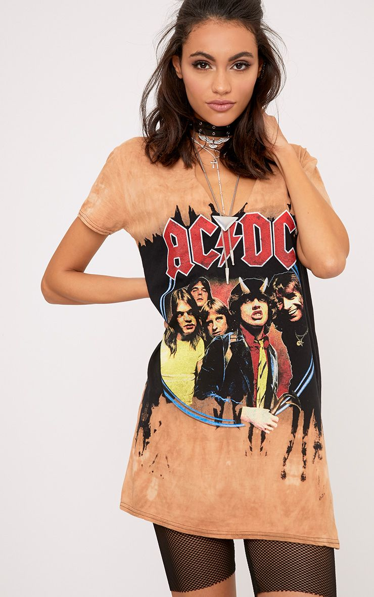 ACDC Cut Out Distressed T shirt Dress