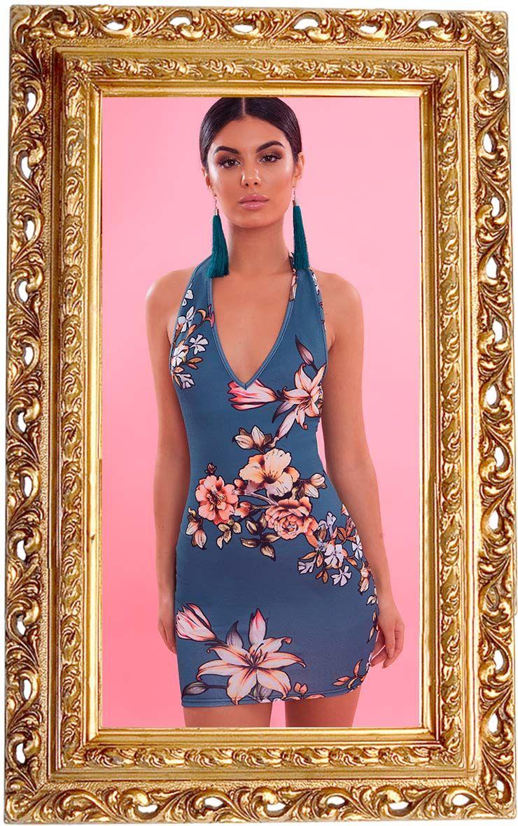 Green Floral Print Halterneck Bodycon Dress