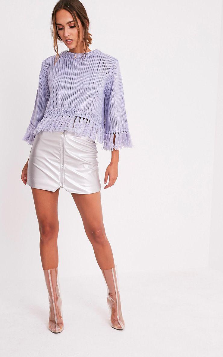 Shelia pull tricoté court à franges bleu cendré 5