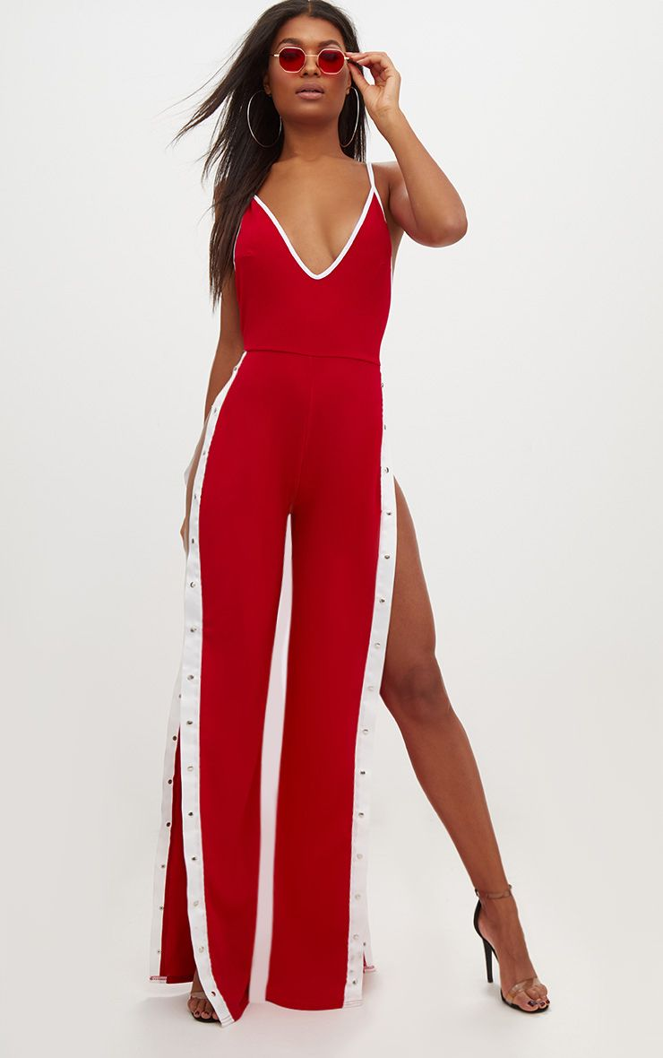 Red Contrast Popper Jumpsuit