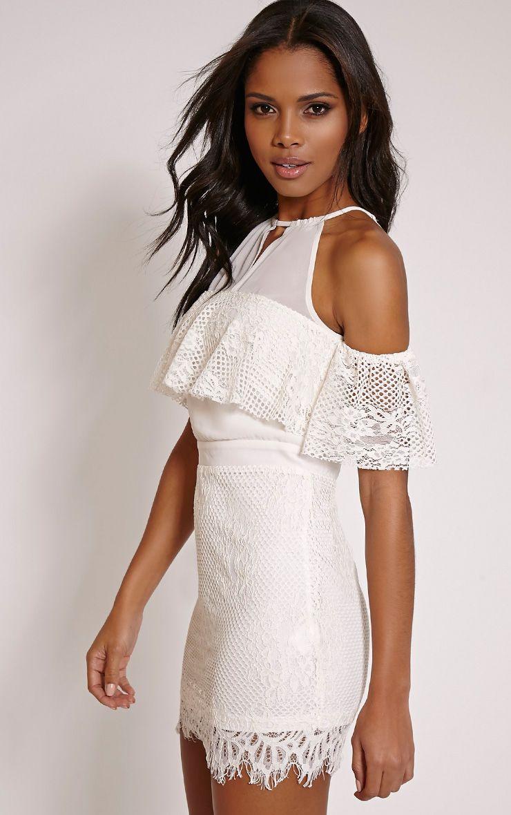 Lia Cream Cold Shoulder Lace Mini Dress 1