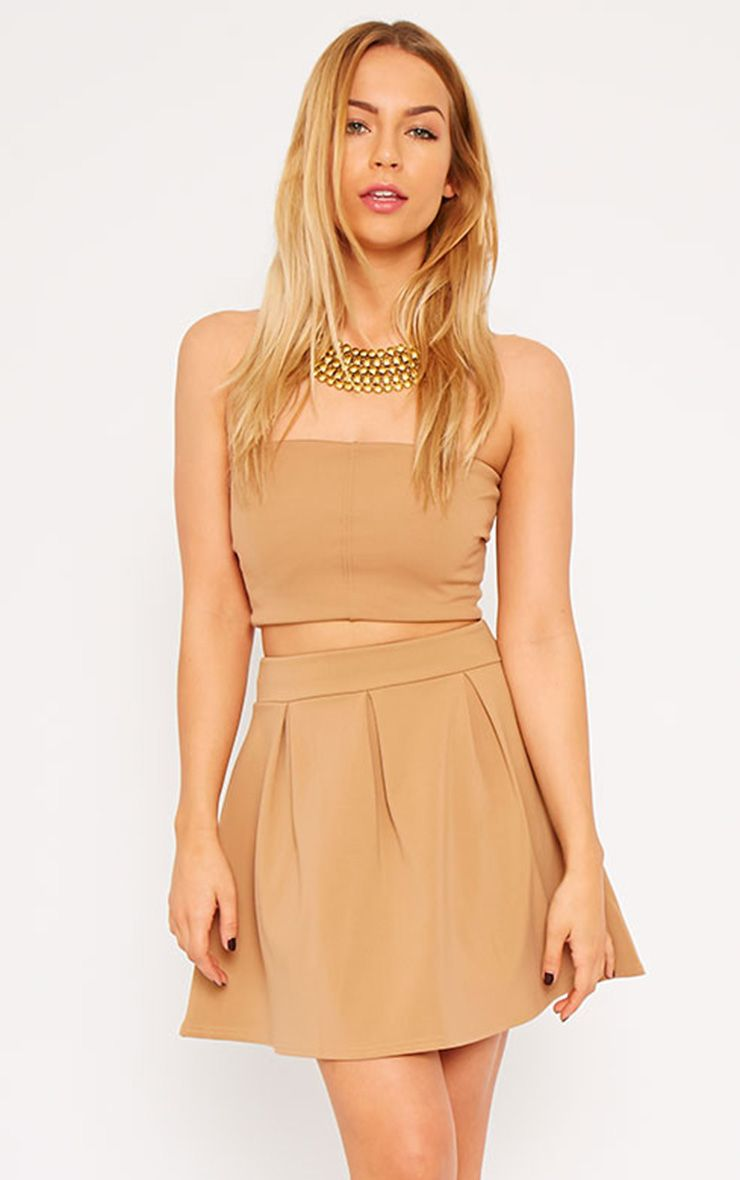 Astrid Camel Pleated Scuba Skater Skirt 1