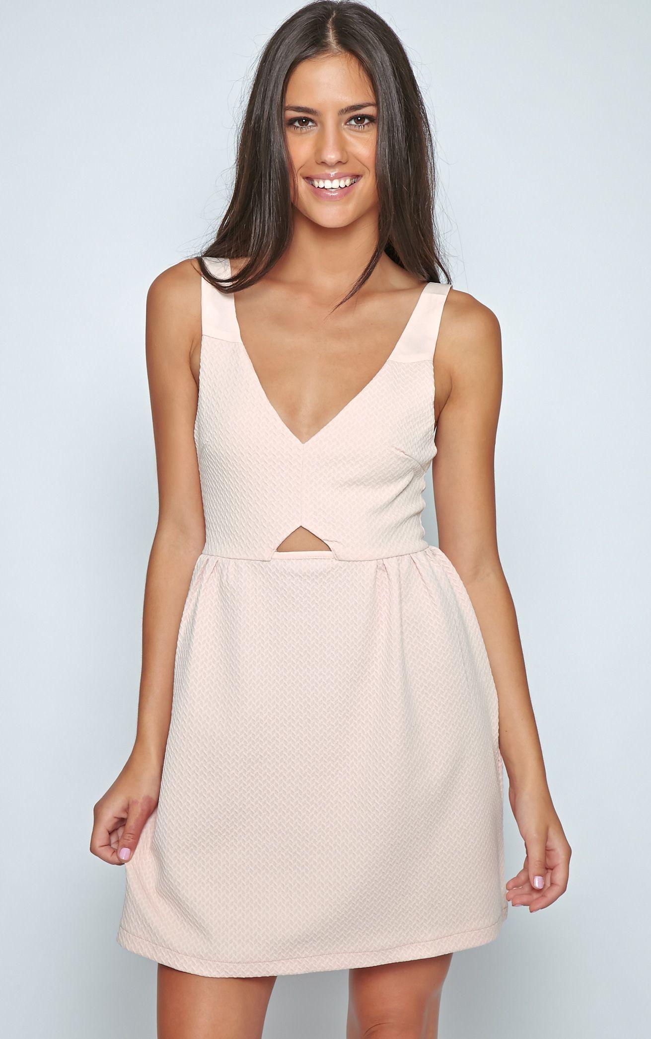 Teri Blush Pink Textured Cut Out Skater Dress 1