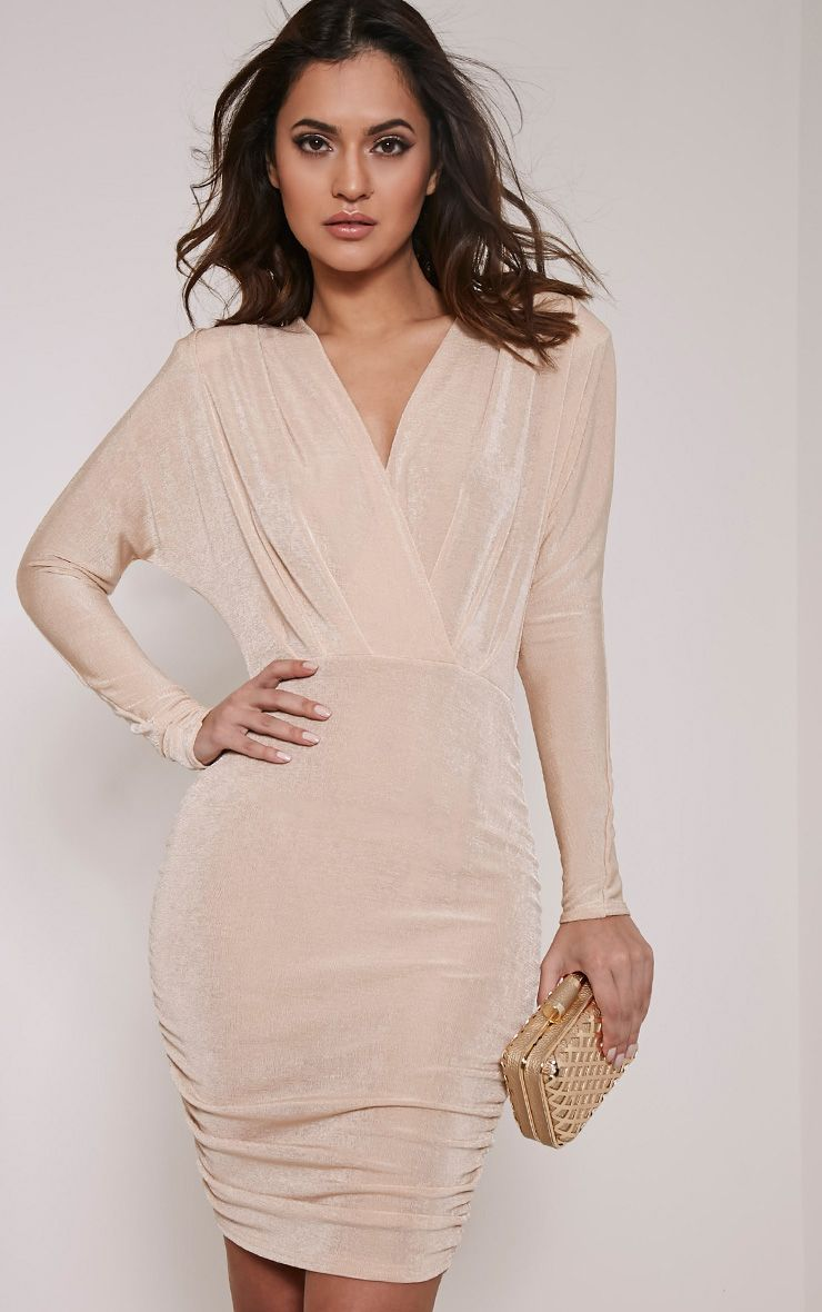 Gabrielle Stone Cape Ruched Bodycon Dress 1