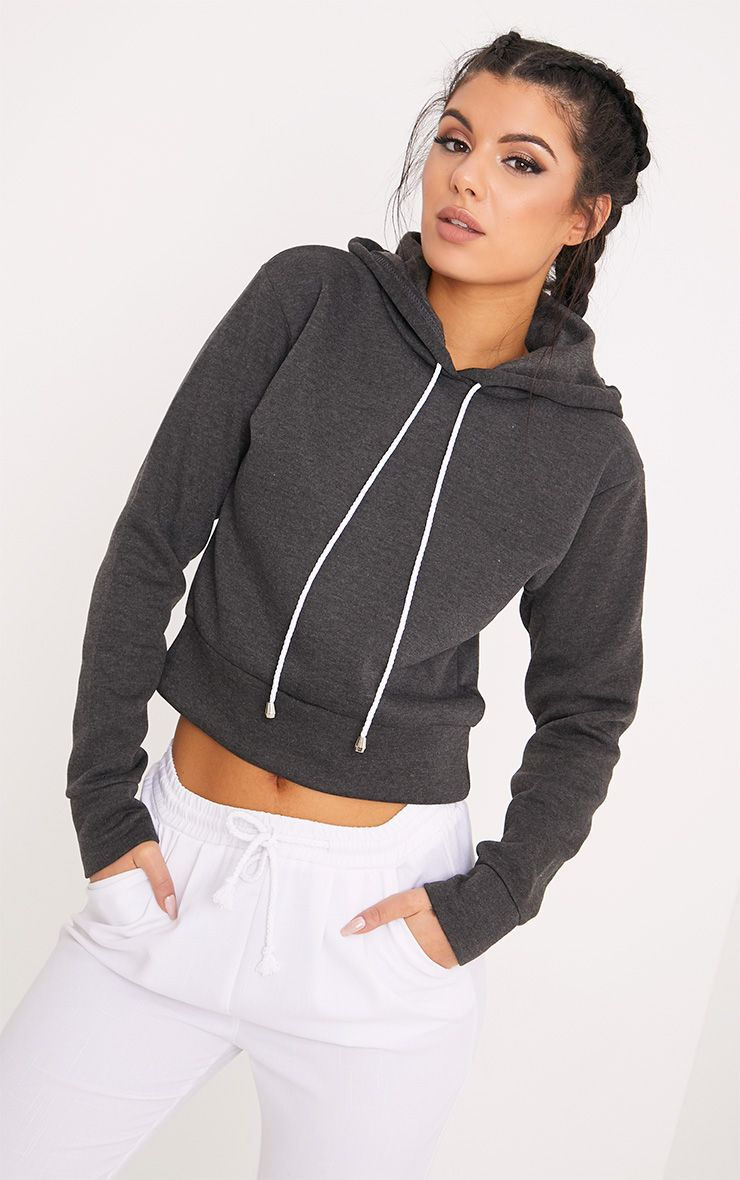 Belle Charcoal Cropped Hoodie