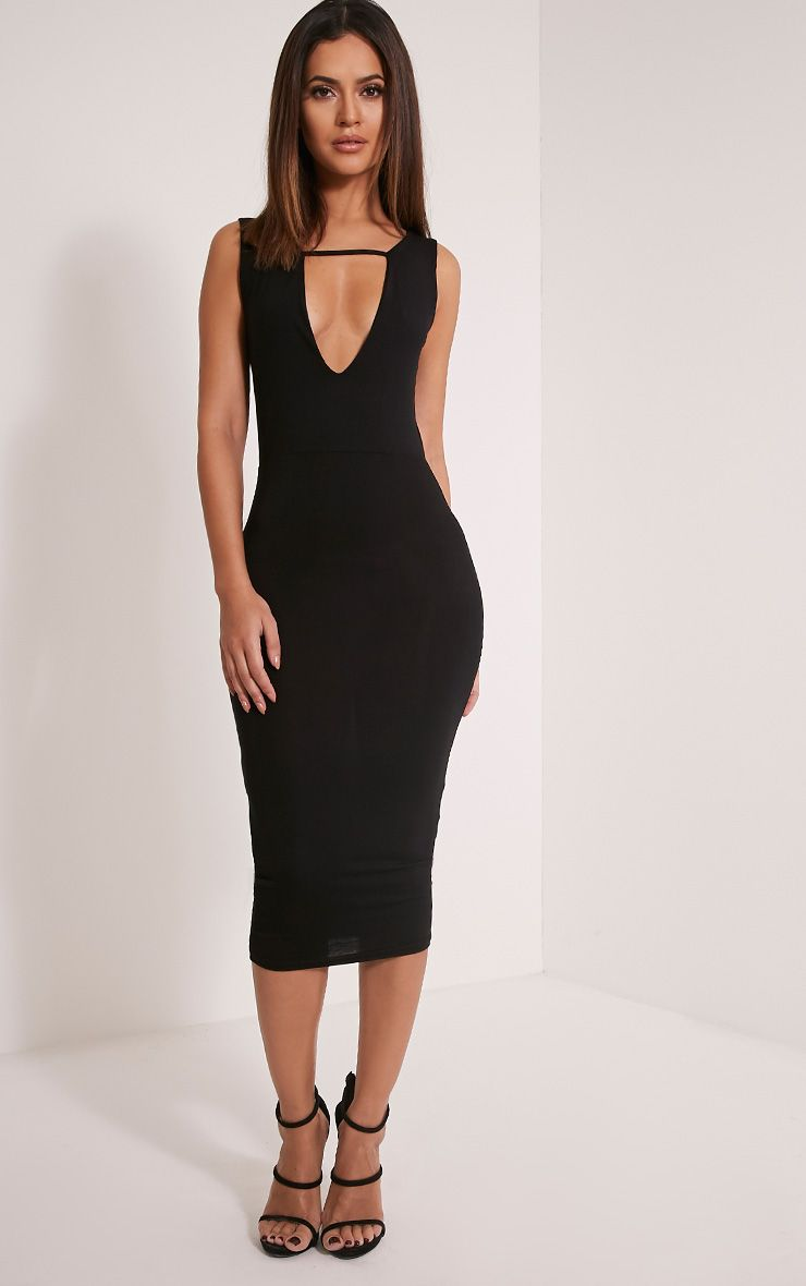 Basic Black Strap Detail Plunge Midi Dress