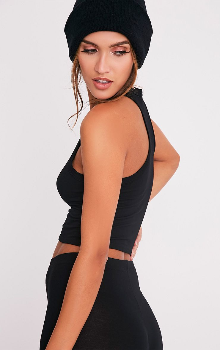 Basic Black Jersey Racer Back Crop Top 4