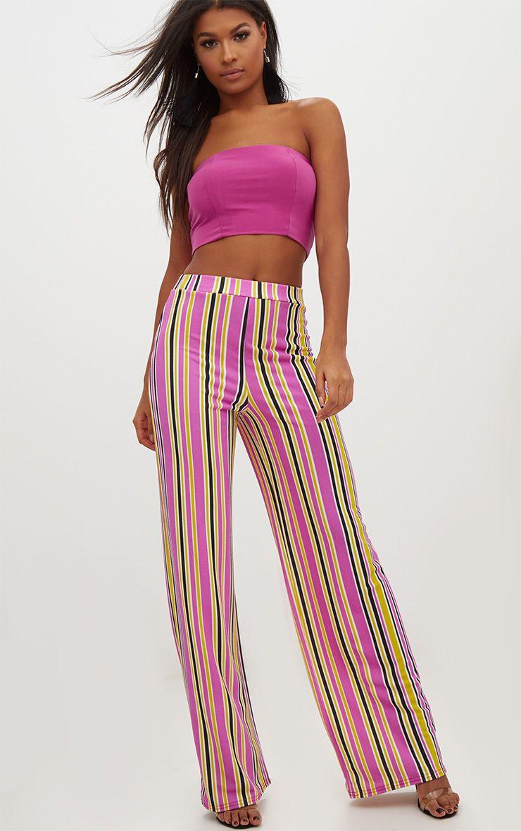 Lilac Stripe Wide Leg Trousers