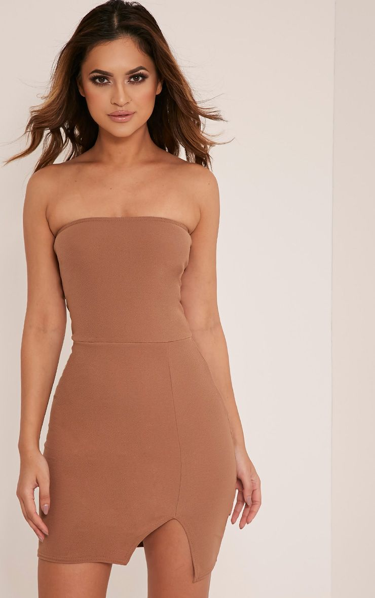 Layala Camel Split Detail Bandeau Bodycon Dress