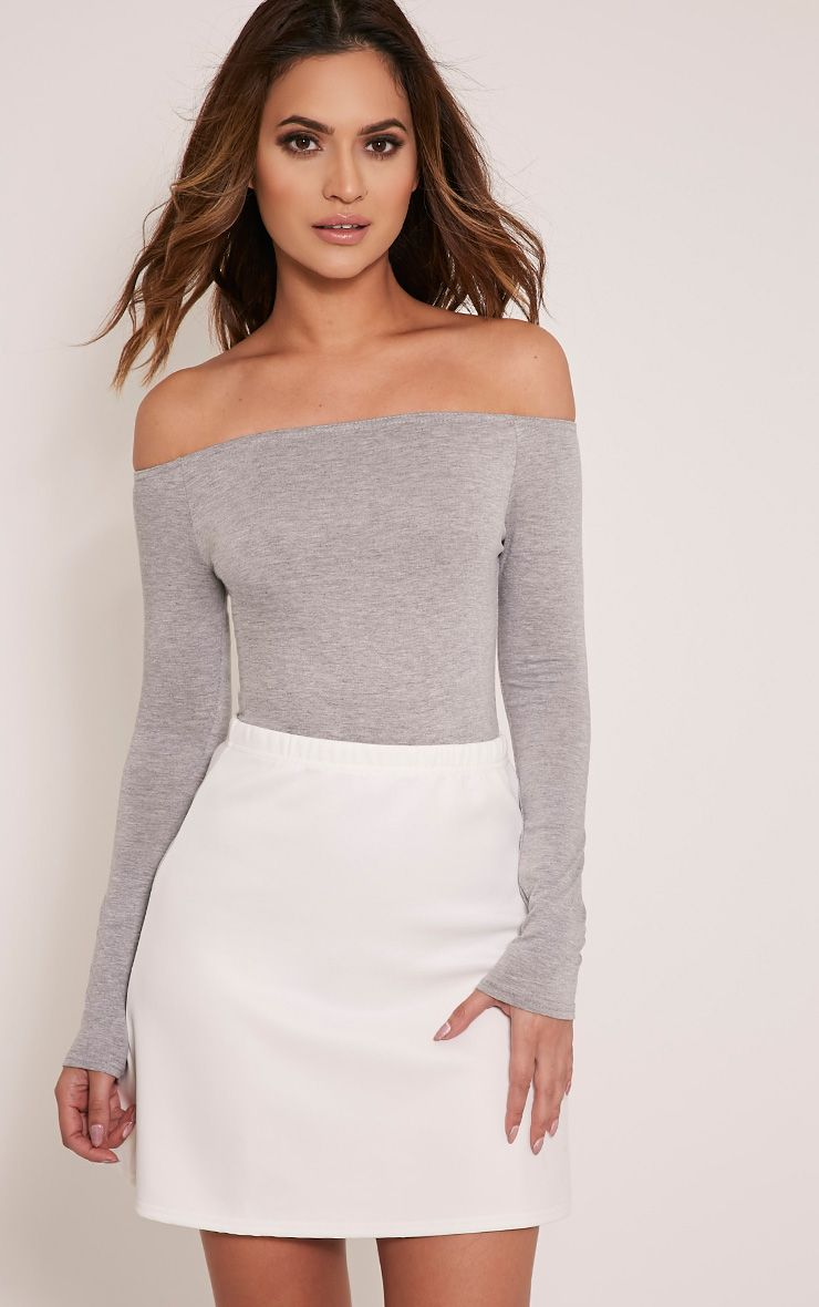 Basic Grey Bardot Bodysuit
