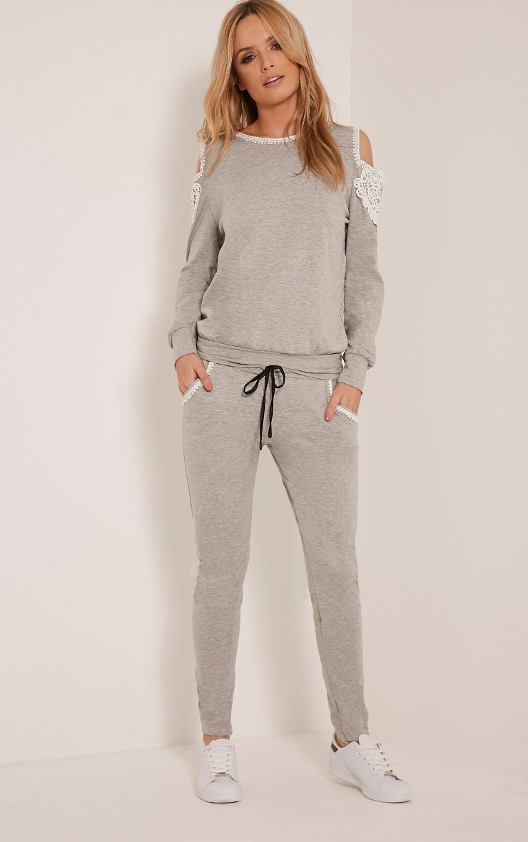 Suzan Grey Lace Pocket Tracksuit Bottoms 1