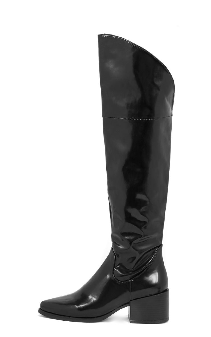 Muna Black Patent Over The Knee Pointed Boot 1
