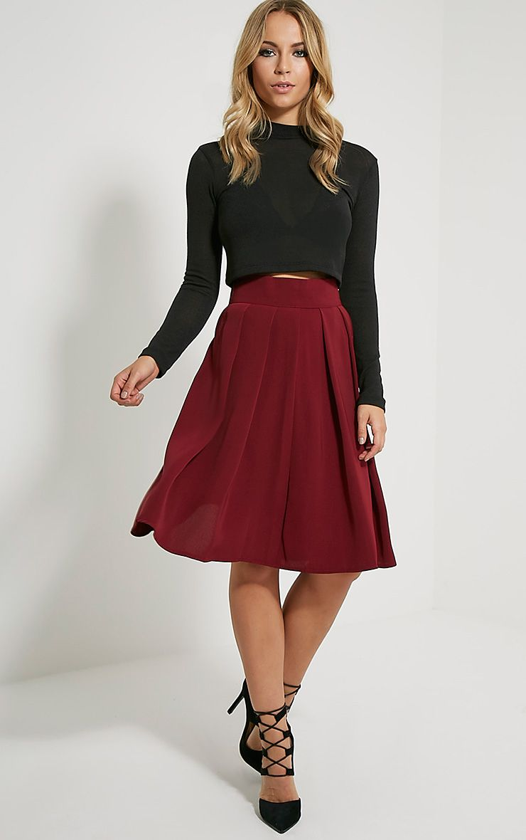 Bonnie Burgundy Pleated Midi Skirt 1