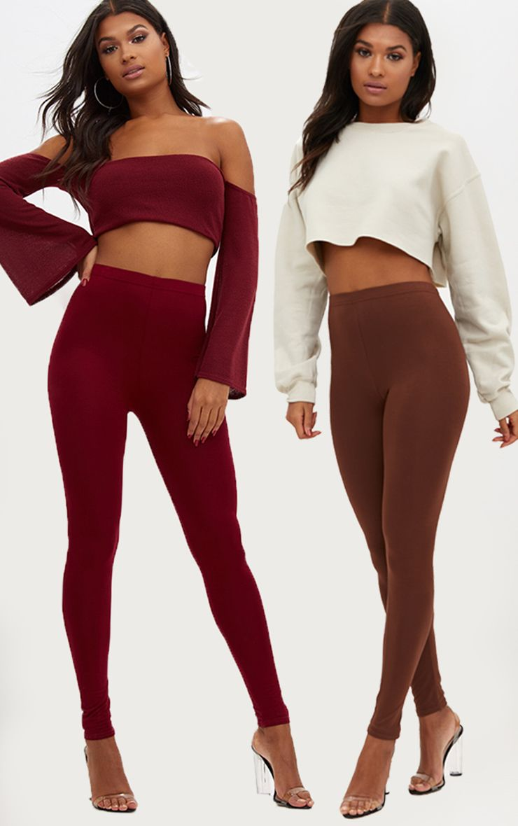 Basic Brown and Burgundy Jersey Leggings 2 Pack