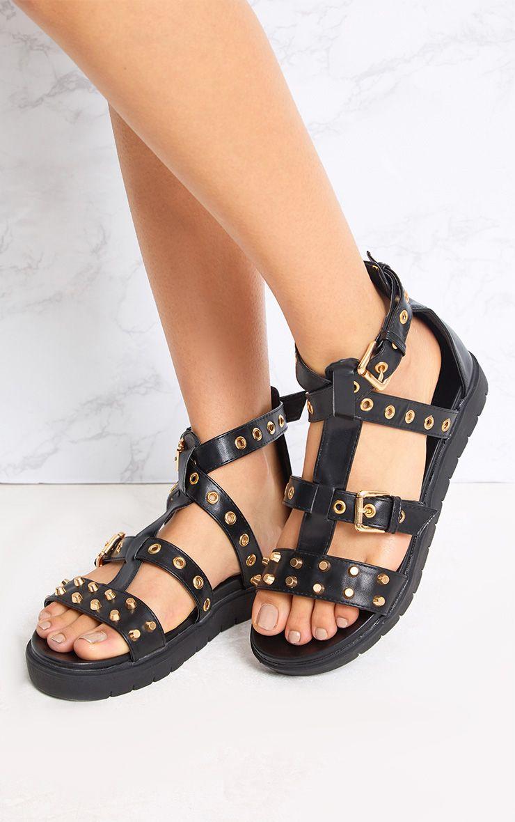 Clarice sandales spartiates cloutées noires