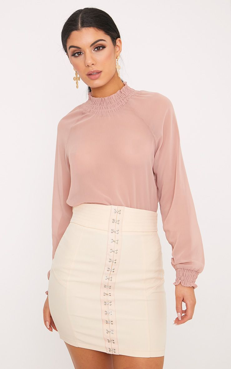 Phoebe Nude Gathered Neck Long Sleeve Sheer Blouse