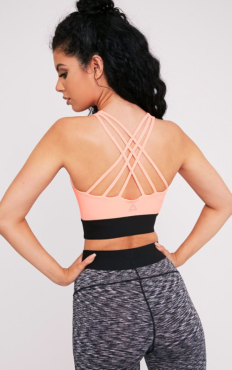 Kiah Neon Coral Strappy Back Crop Top
