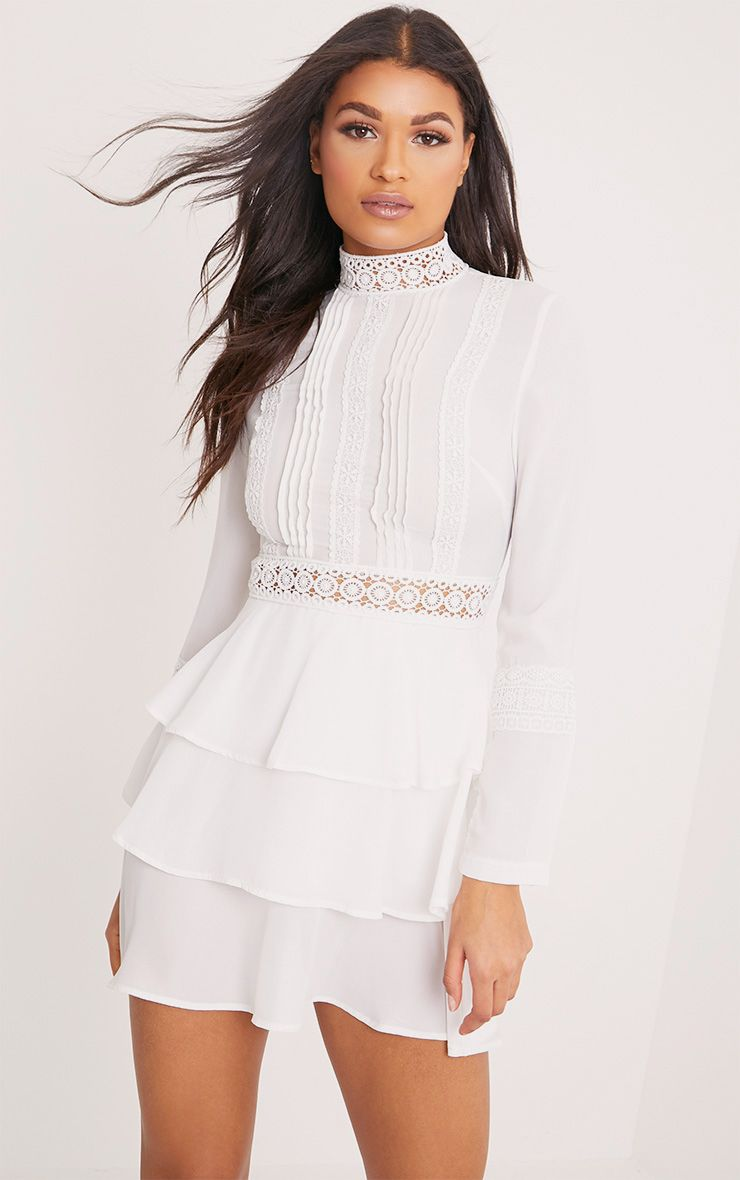 Hope White Crochet Lace High Neck Ruffle Swing Dress