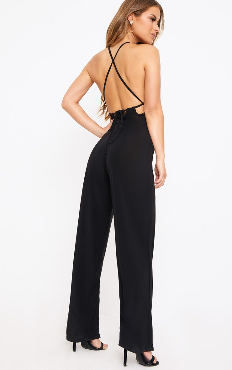 PRETTYLITTLETHING Petite Tie Back Strappy Jumpsuit Discount Cheap Recommend JhNzbnQ50