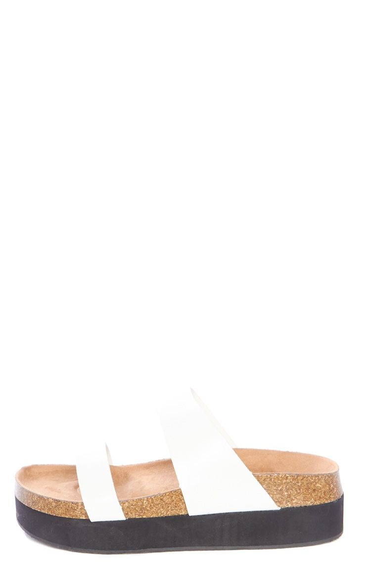Anika White Faux Leather Double Strap Slider Sandals 1