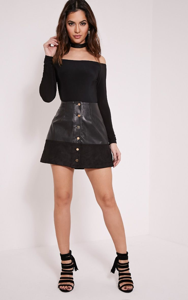 Sonia Black Faux Leather Button Down Mini Skirt 1