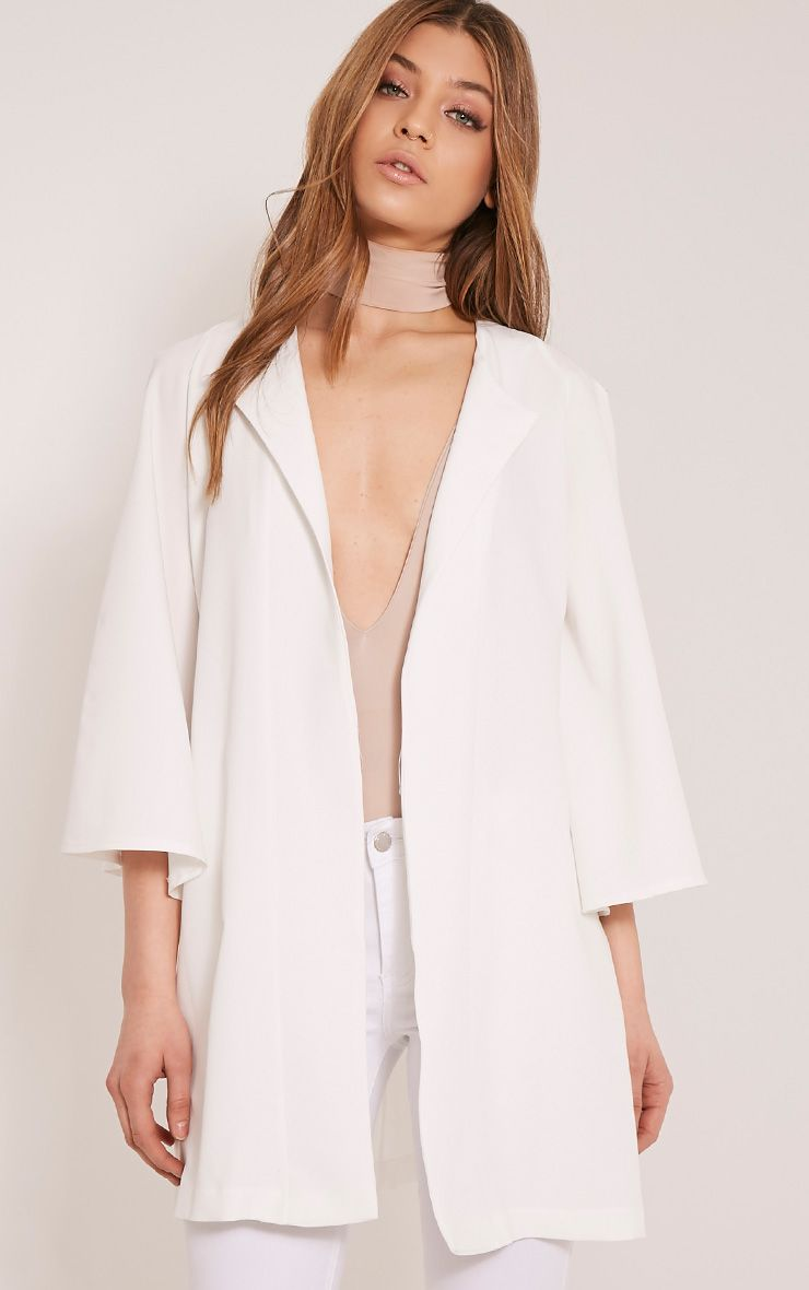 Amba Cream Flared Sleeve Crepe Cape Jacket 1