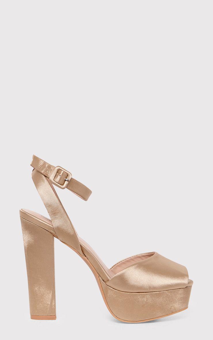 Dianne Champagne Satin Platform Heels