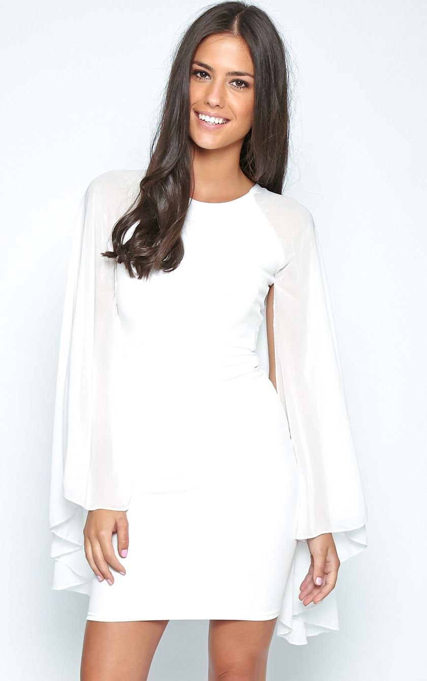 Kayte White Bodycon Dress With Chiffon Batwing Sleeves 1