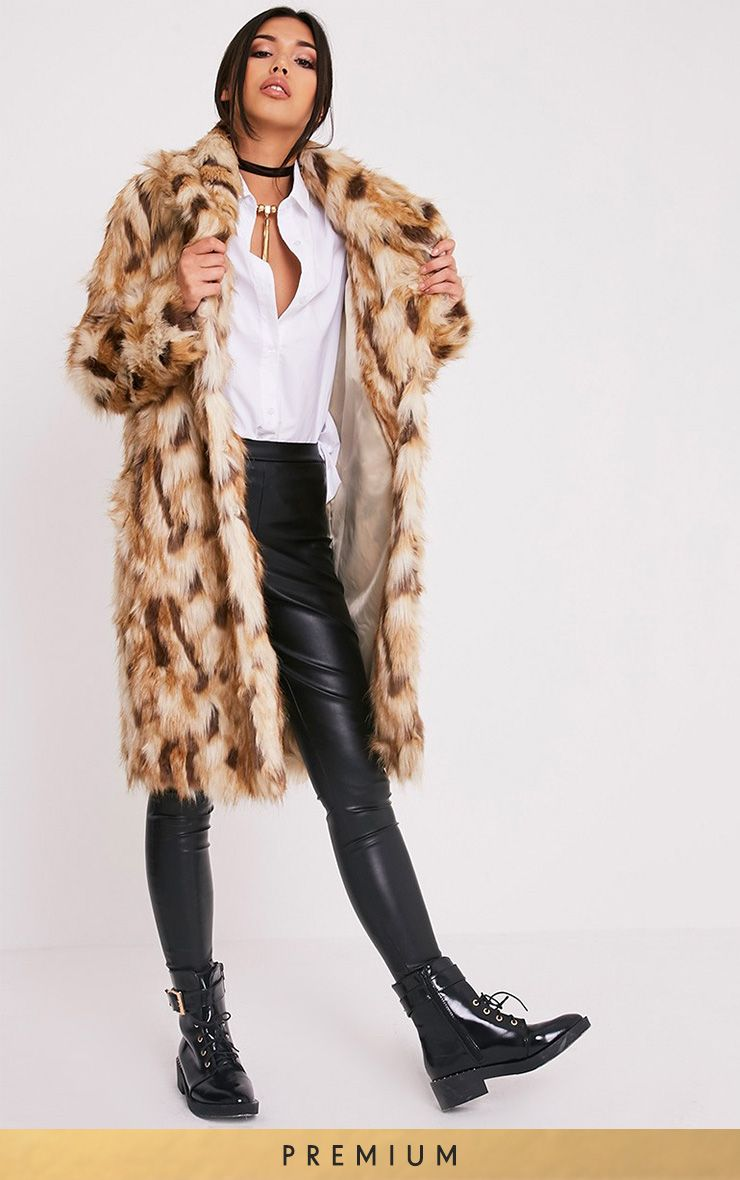 Gerorgana Tan Longline Faux Fur Coat