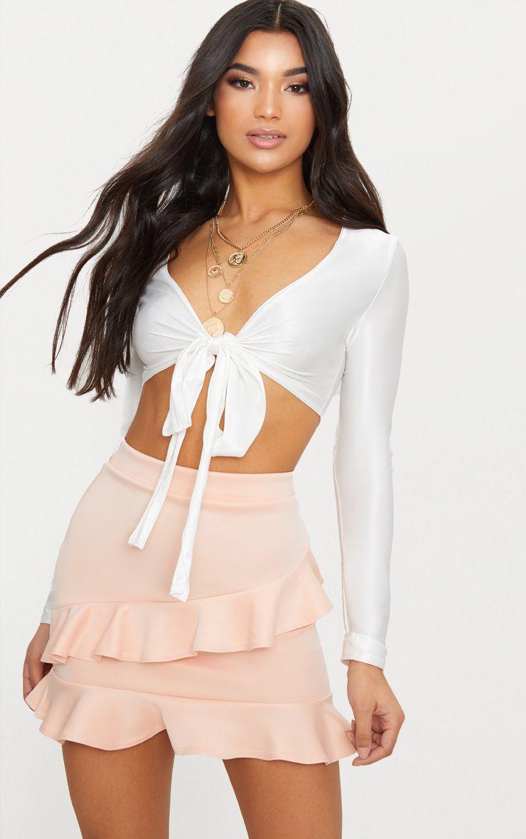 Blush Scuba Double Frill Mini Skirt