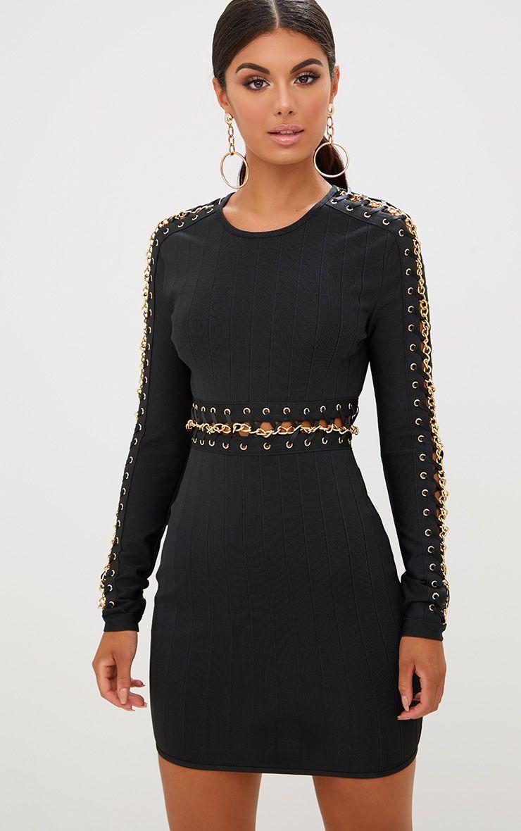 Black Chain Detail Bandage Bodycon Dress