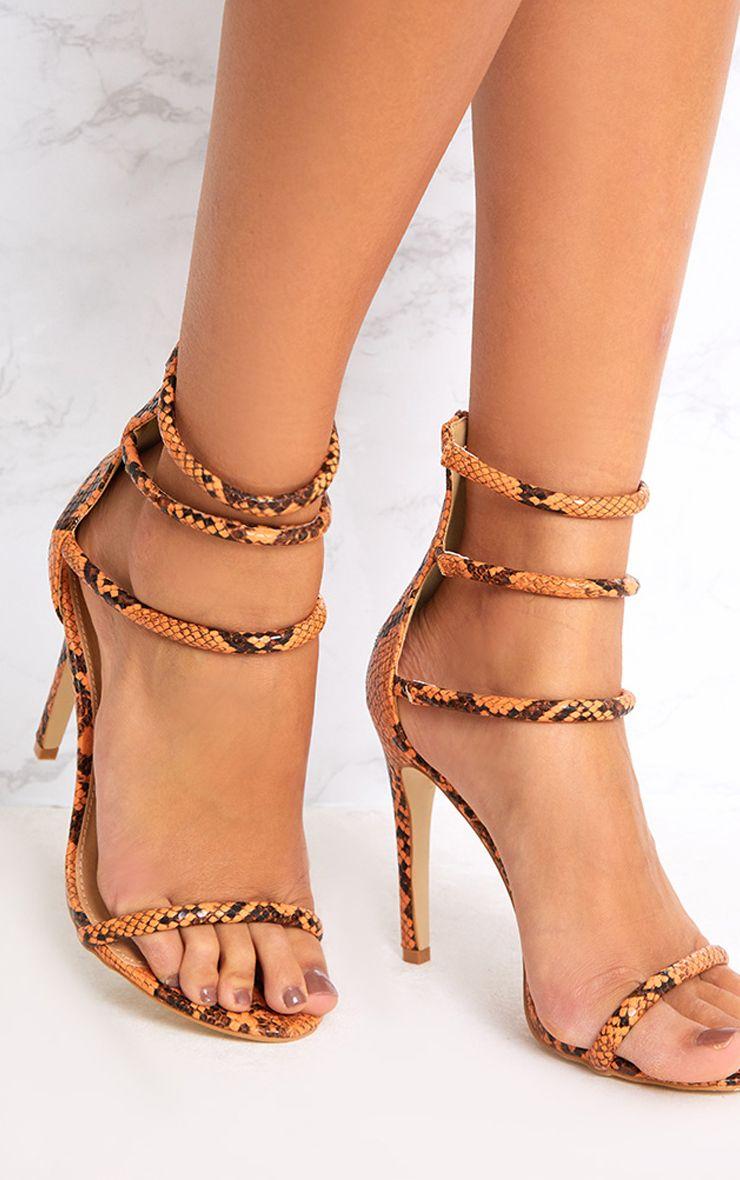 Orange Snake Print Strappy Heeled Sandals