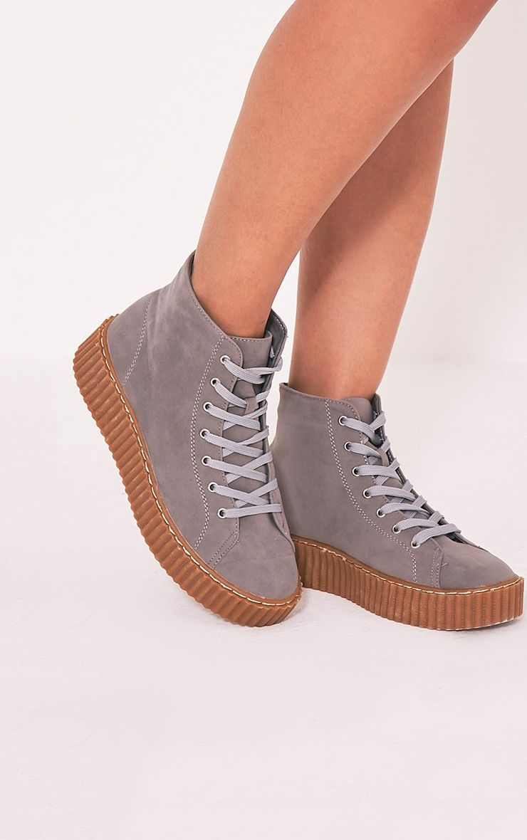 Roxana Grey High Top Creeper Trainers