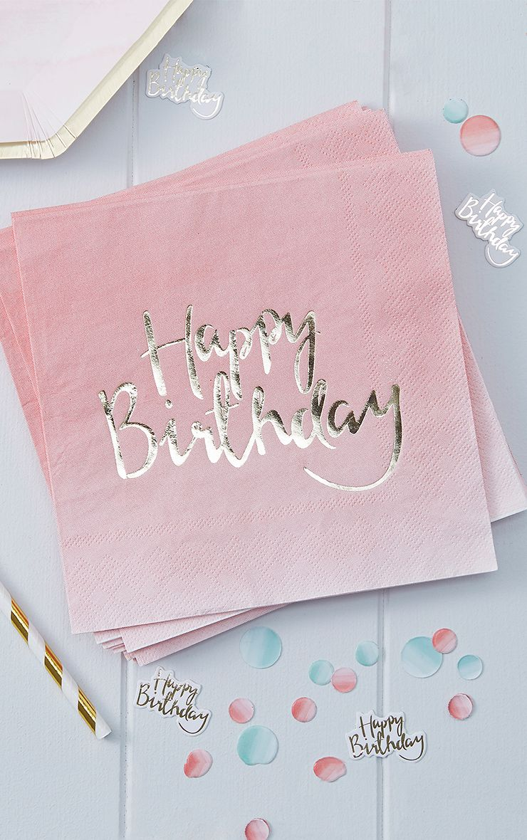 20 Pack Pink Ombre Happy Birthday Paper Napkins
