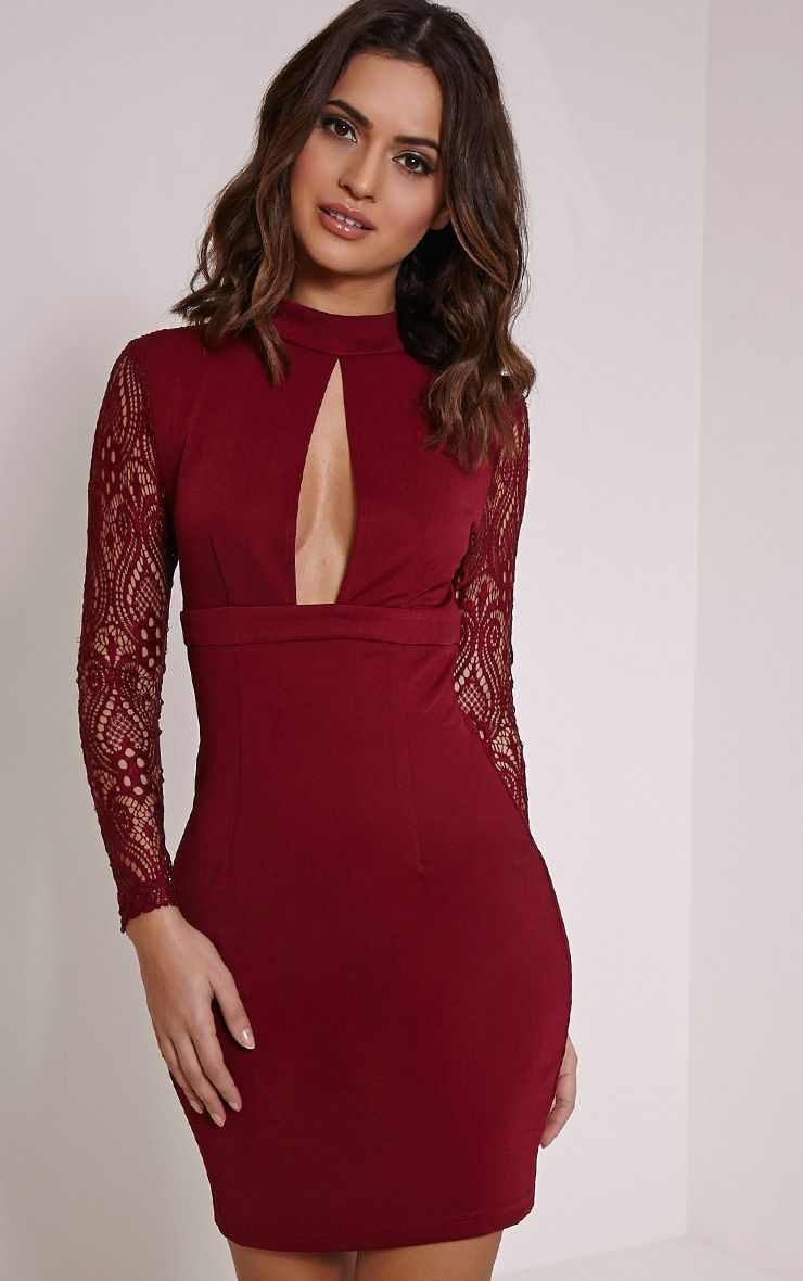 Kerris Burgundy Key Hole Lace Bodycon Dress 1