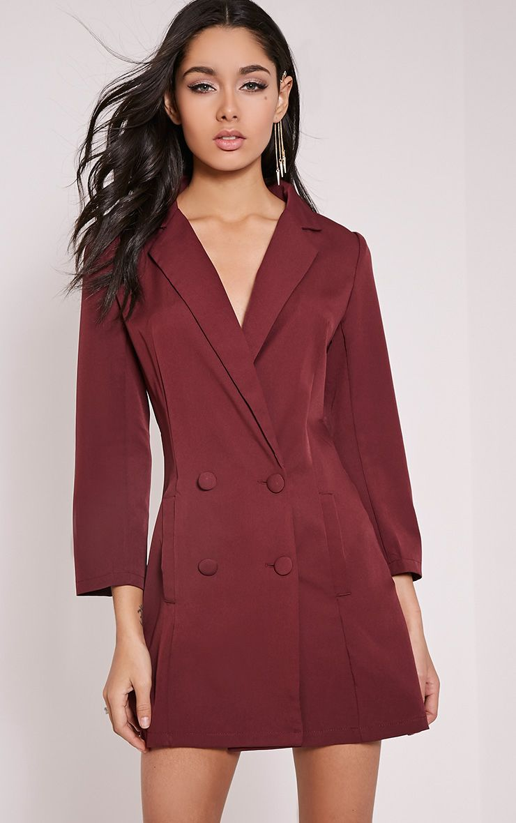 Tobyn Burgundy Double Breasted Blazer Dress 1