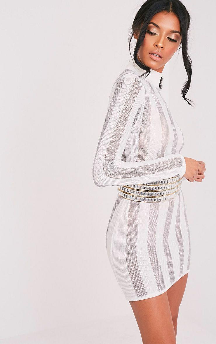 Amias Sheer White Metallic Knitted Mini Dress 1