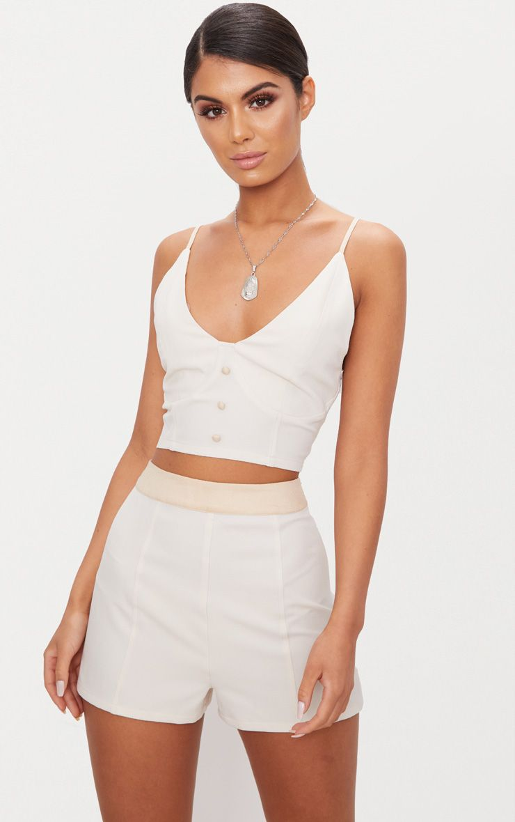Cream Contrast Waist Band Formal Shorts