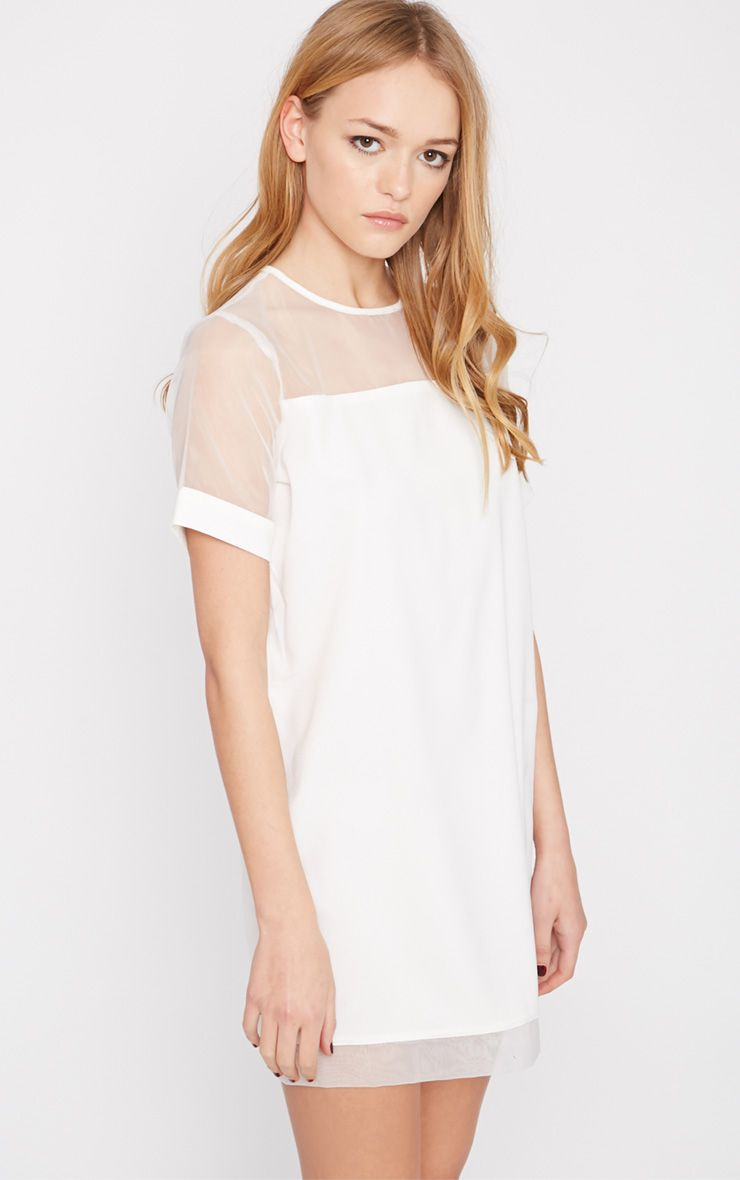 Brogan Cream Mesh Tshirt Dress  1