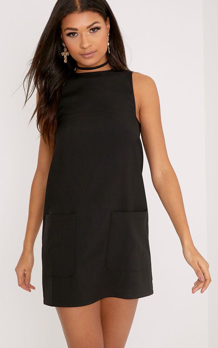 Madline Black Pocket Detail Shift Dress