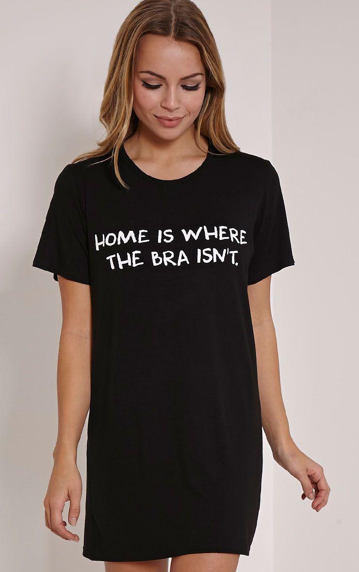 Home Is Where The Bra Isn't Black Oversized Nightshirt 1